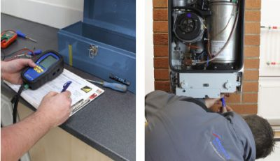 Le chauffagiste répare le boiler et vérifie le thermostat de la chaudière