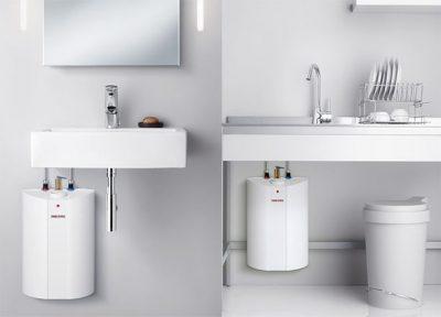 La chaudière nouvelle génération est mise sous l'évier de la cuisine et du lavabo